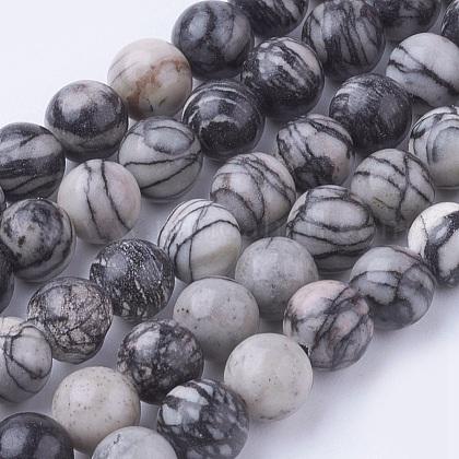 Natural Netstone Round Beads StrandsG-G735-90-6mm-1