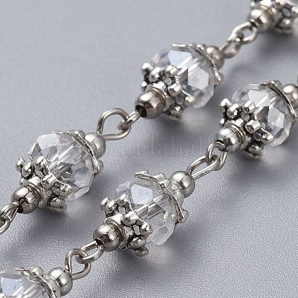 Handmade Glass Beaded ChainsAJEW-JB00498-01-1