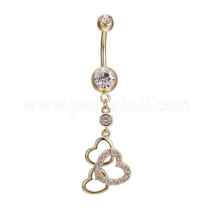Piercing joyas reales 18k chapado en oro latón rhinestone corazón a corazón ombligo anillos anillos del vientreAJEW-EE0001-70B-1