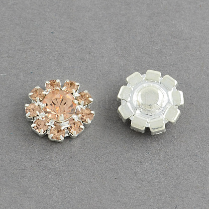 Shining Garment Accessories Flower Brass Grade A Rhinestone Findings Cabochons RB-S022-01I-1