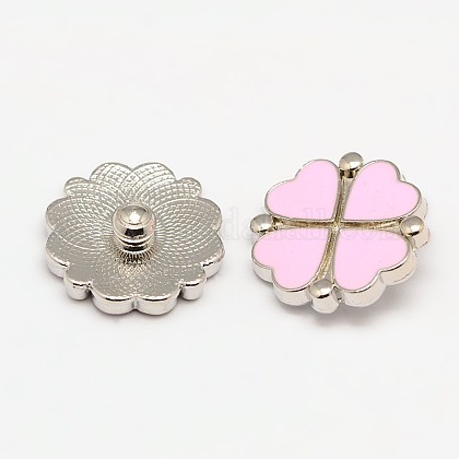 Eco-Friendly Alloy Enamel Clover Jewelry Snap ButtonsX-SNAP-F004-38A-NR-1