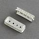 Silver Color Plated Tone Rectangle Alloy Rhinestone Bar SpacersALRI-R036-03-1