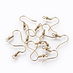 Brass Earring Hooks, Long-Lasting Plated, Nickel Free, Real 18K Gold Plated, 18x18x3mm, Hole: 2mm; Pin: 0.6mm