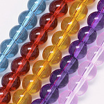 Glass Beads Strands, Transparent, Dyed & Heated, Round, Mixed Color, 10x9.5mm, Hole: 1mm; about 38pcs/strand, 14.7