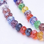 Mixed Electroplate Glass Faceted Rondelle Bead Strands, 4x3mm, Hole: 1mm; about 130~140pcs/strand, 18.1inches