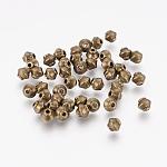 Perles de séparateur de style tibétain , Toupie, séparateurs perles en alliage, sans plomb et sans cadmium, couleur de bronze antique, 5 mm de diamètre, épaisseur de 4.5mm, Trou: 1mm
