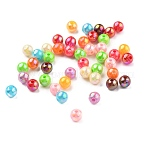 Opaque Acrylic Beads, for Name Bracelets & Jewelry Making, AB Color, Round, Mixed Color, Size: about 6mm in diameter, hole: 1mm