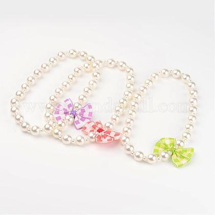 Imitation Pearl Acrylic Beaded Kids NecklacesNJEW-JN01582-1