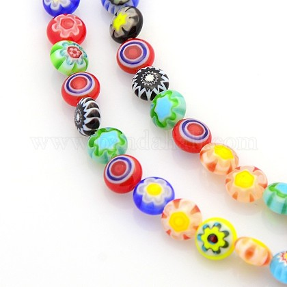 Handmade Millefiori Glass Bead Strands LAMP-J034-6mm-M-1