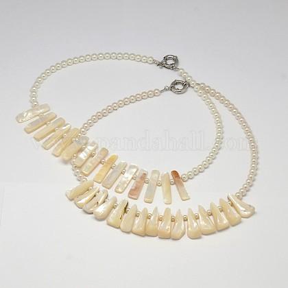 Collares declaración de babero de concha de perla de color blanco natural de estilos mixtosNJEW-L096-05-1