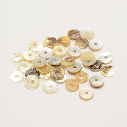 Flat Round Natural Akoya Shell BeadsSHEL-N034-11-1