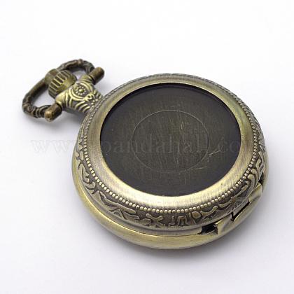 Zinc reronda cabezas reloj peinado plano de la vendimia de la aleación de cuarzoWACH-R008-13-1