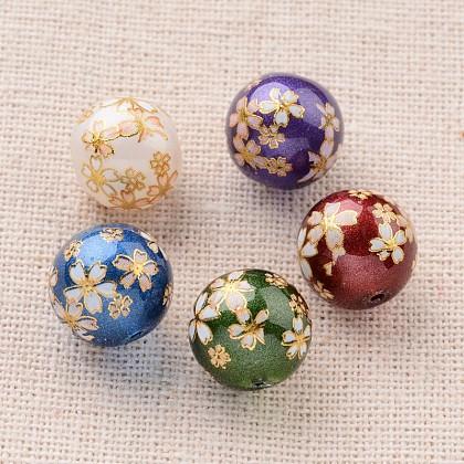 Цветочная картина печатные стеклянные круглые бусиныGLAA-J089-10mm-B-1