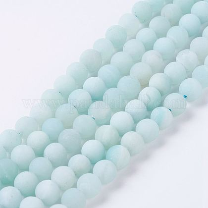 Natural Amazonite Beads Strands G-J376-19F-6mm-1