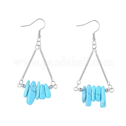 Synthetic Turquoise Dangle Earrings EJEW-JE04007-02-1
