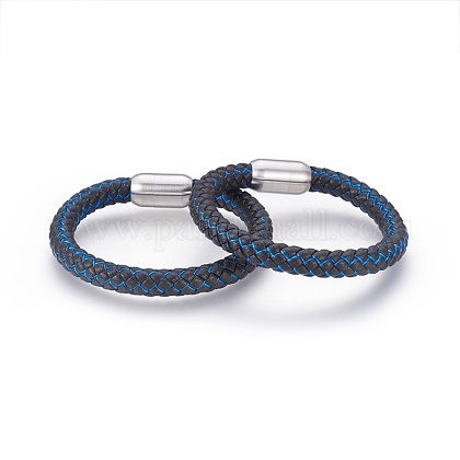 Braided Leather Cord Bracelets BJEW-F349-15P-01-1