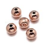 Окружающей среды медные бусины, без свинца, без никеля и без кадмия, круглые, розовое золото , 4 мм, отверстие : 1.5~2 мм