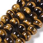 Cuentas de cuentas redondas de ojo de tigre natural, grado a +, 10mm, agujero: 1 mm; aproximamente 40 unidades / cadena, 15.5