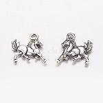 Tibetan Style Antique Silver Alloy Horse Pendants, 16.5x13.5x2mm, Hole: 2mm