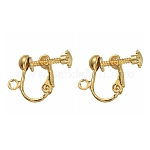 Brass Screw Clip Earring Converter, for non-pierced ears, Golden, Nickel Free, about 13.5mm wide, 17mm long, 5mm thick, hole: about 1.2mm