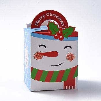Cajas de regalo de dulces de tema navideño, cajas de embalaje, para regalos de navidad dulces fiesta de navidad, patrón de muñeco de nieve, colorido, 10.2x8.3x8.2 cm