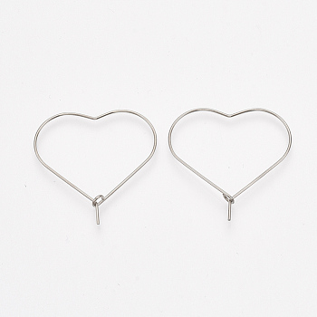 304 Stainless Steel Hoop Earring Findings, Heart, Stainless Steel Color, 21 Gauge, 30x30x0.7mm, Pin: 0.7mm
