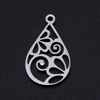 201 Stainless Steel Pendants, Filigree Joiners Findings, Laser Cut, teardrop, with Flower, Stainless Steel Color, 22x13x1mm, Hole: 1.4mm