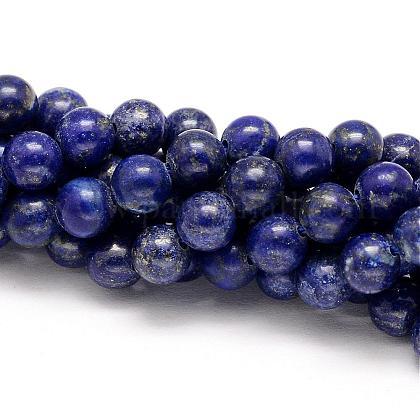 Natural Lapis Lazuli Round Beads StrandsG-I181-09-6mm-1