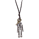 Adjustable Men's Zinc Alloy Pendant and Leather Cord Lariat NecklacesNJEW-BB15999-9