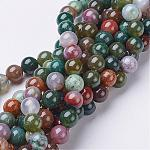 Gemstone Beads Strands, Natural Indian Agate, Round, about 8mm in diameter, hole: about 1mm; about 46pcs/strand, 15~16