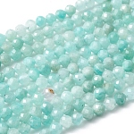 Natural Amazonite Bead Strands, Faceted Round, 3mm, Hole: 0.8mm; about 136pcs/strand, 16