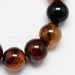 Natural Agate Bead Strands, Dyed, Round, Natural Agate, 6mm, Hole: 1mm; 65pcs/strand, 15.7