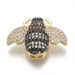 Brass Micro Pave Cubic Zirconia Pendants, Multi-strand Links, Bee, Colorful, Golden, 17x23x7.5mm, Hole: 1.5~12x1.5mm
