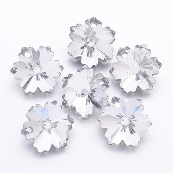 Electroplate Glass Beads, Silver Back Plated, Snowflake, Christmas, Silver, 14mm in diameter, 8mm thick, hole: 1mm