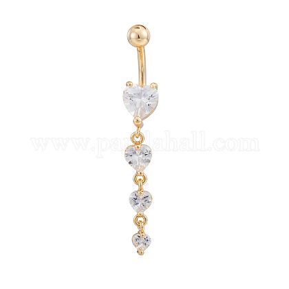 Real 18K Gold Plated Piercing Jewelry Brass Cubic Zirconia Heart Navel Ring Belly Rings AJEW-EE0001-06-1