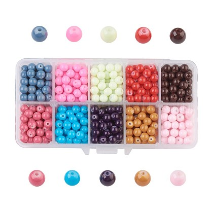 10 Colors Painted Glass Beads DGLA-JP0001-04-6mm-1