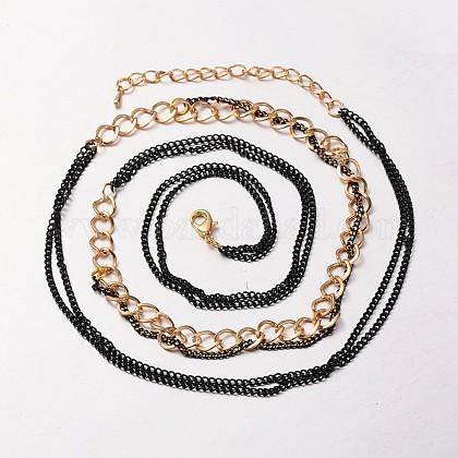Cadenas de hierro de color dorado y cadena trenzada de latónNJEW-J023-01-1