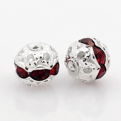 Серебряные латунные бусины со стразамиRB-J477-06S-1