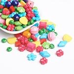 Abalorios de acrílico, facetados, formas mixtas, estilo mezclado, color mezclado, 5~26x5~19x4~16mm, agujero: 2~2.5 mm