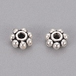 Tibetan Style Spacer Beads, Flower, Antique Silver, 4x1.5mm, Hole: 1mm