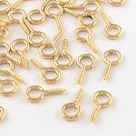 アイアンスクリューアイピンペグベイル, 片穴パーツ用, ライトゴールド, 13x6.5x1.5mm, 穴:4mm、ピン:1.5mm