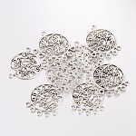Тибетский сплав стиль плоские круглые компонент люстра, без свинца и без кадмия, античное серебро, шириной 26.5 мм , 35.5 мм длиной, толстый 1.5 мм , отверстие : 2 мм