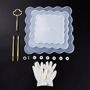 Clear DIY 3-Layer Fruit Tray Silicone Molds, Resin Casting Molds, For UV Resin, Epoxy Resin Jewelry Making, with Metal Tray Handle and Disposable Rubber Gloves, Clear, 154x154x9mm/204x204x9mm/254x254x9mm; 3pcs/set