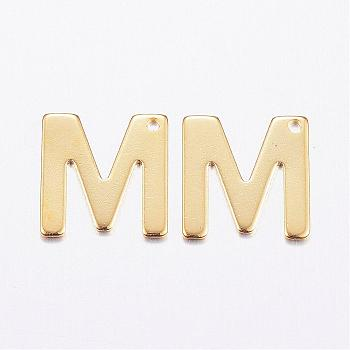 304 Stainless Steel Charms, Letter, Initial Charms, Letter.M, 11x6~12x0.8mm, Hole: 1mm