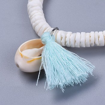 Light Blue Cotton Thread Tassels Charm Bracelets, with Shell Beads and Cowrie Shell Beads, with Burlap Paking Pouches Drawstring Bags, Light Blue, 2 inches(5~5.1cm)