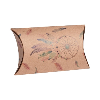 BurlyWood Paper Pillow Boxes, Gift Candy Packing Box, with Clear Window, Feather Pattern, BurlyWood, 17.5x10.05x3.85cm