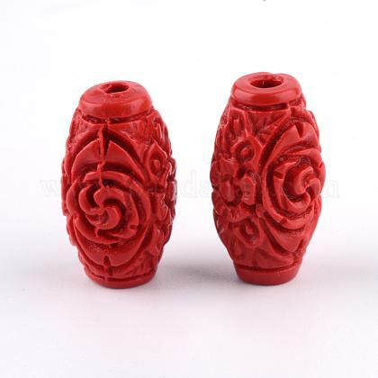 Perles de cinabre sculptéesCARL-Q004-76C-1