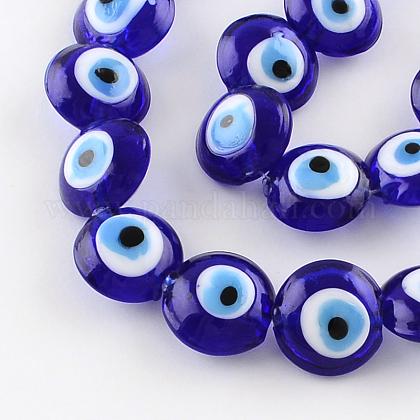 Redondas plana mal de ojo hebras de abalorios de muranoX-LAMP-R118-01-1