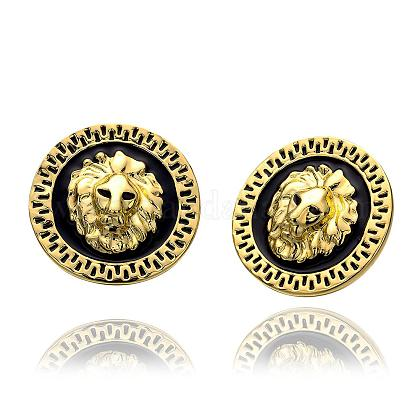 Real 18K Gold Plated Flat Round with Lion Head Tin Alloy Stud EarringsEJEW-BB09639-G-1