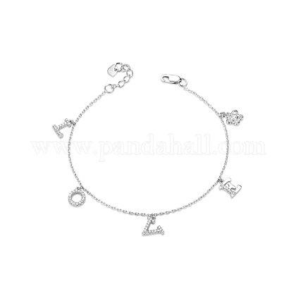 Tinysand® valentine's day gift 925 pulsera de plata de ley con circonitas cúbicas con dijes de amorTS-B303-S-1